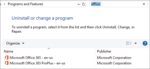 Shows two copies of Office installed in Control Panel